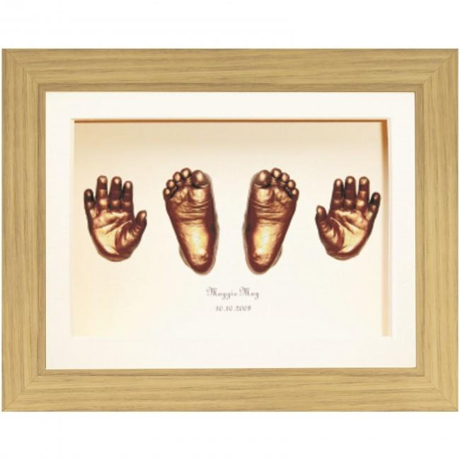 Large Baby Casting Kit, Oak effect Frame, Bronze Hand & Foot