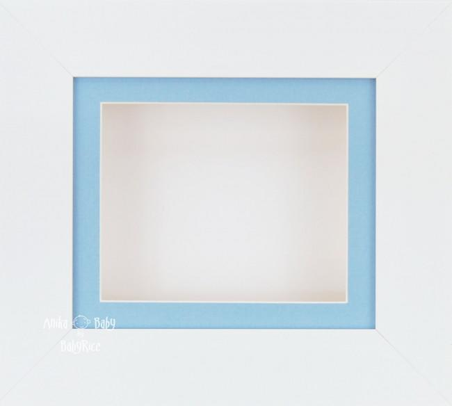 White Small Display Frame / Blue mount & White backing card