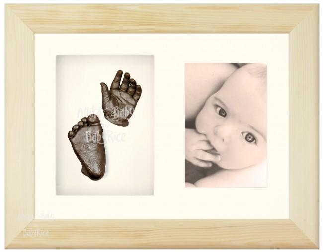 "Baby Casting Kit & 11.5x8.5"" Natural Pine Frame / Bronze paint"