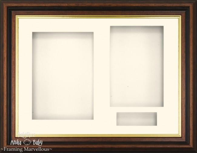 Mahogany effect Gold trim 3D Display Box Frame Cream - BabyRice