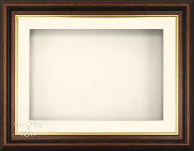 "11.5x8.5"" Mahogany Gold Effect 3D Display Frame 1 Hole Cream Mount Cream Back"