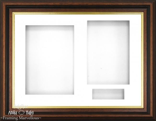 Mahogany effect/Gold trim 3D Display Box Frame White - BabyRice