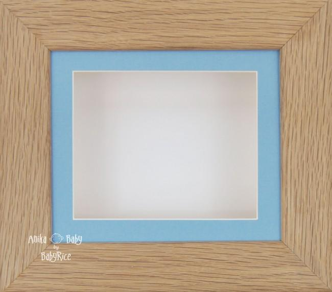 Solid Oak Wood Shadow Box Display Frame / Blue & White