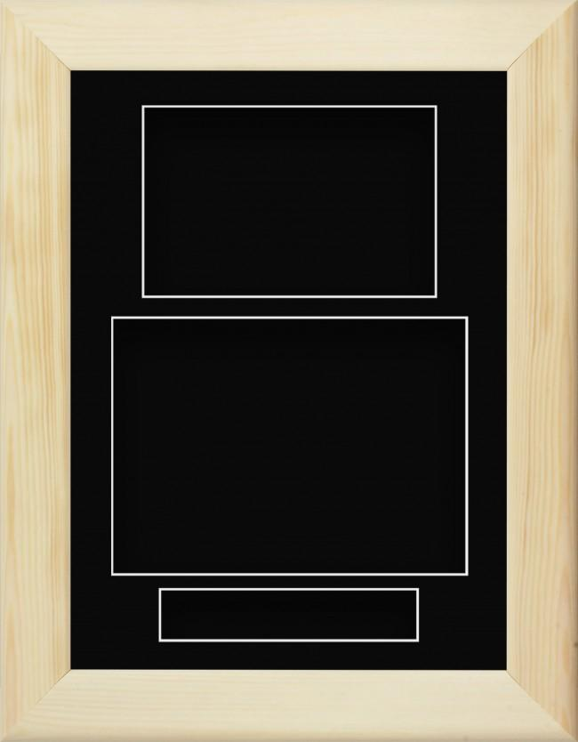 Natural Pine Wooden Box Display Frame Black Portrait
