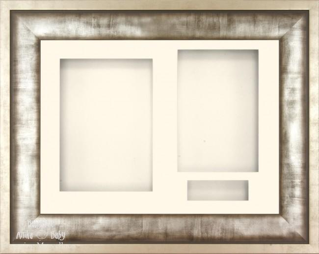 Urban Silver Grey Metal effect 3D Display Box Frame Cream