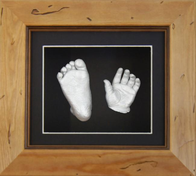 Baby Casting Rustic Pine Wooden Frame Black Display Silver paint