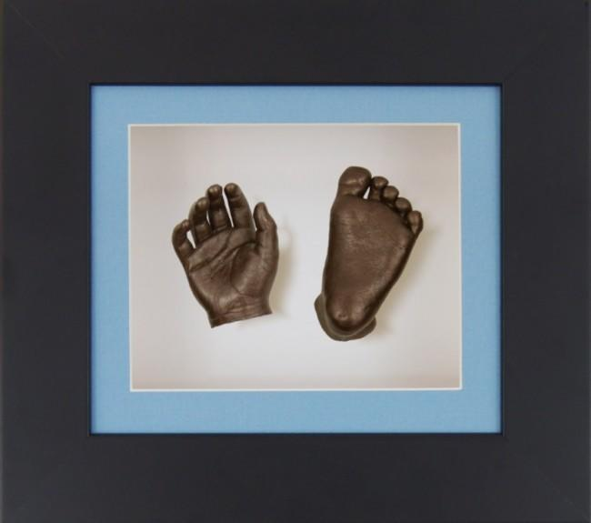 Unique New Baby Boy Gift 3D Casting Kit Black Frame Bronze paint