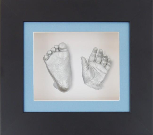 Unique New Baby Boy Gift 3D Casting Kit Black Frame Silver paint