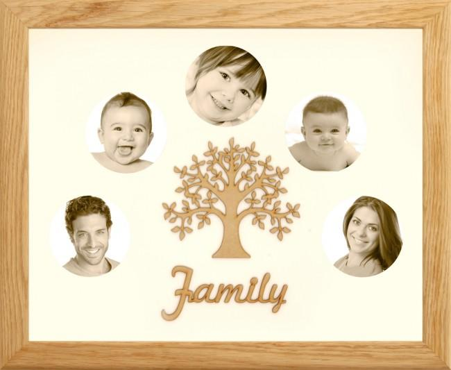 Large Family Photo Tree of Life 5 Picture Frame Solid Oak 50x40cm
