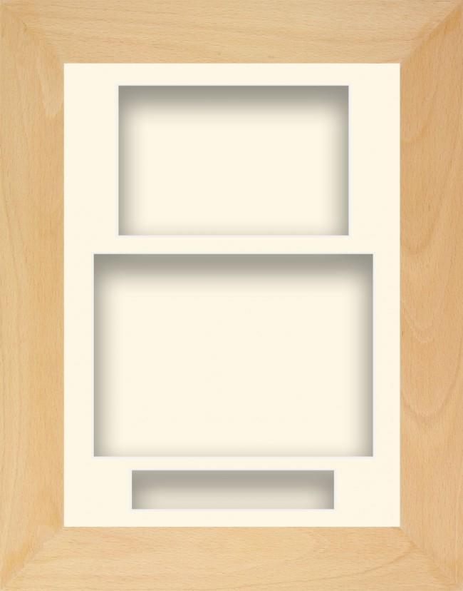 11.5x8.5 Beech Wooden Deep Box Display Frame Cream Portrait