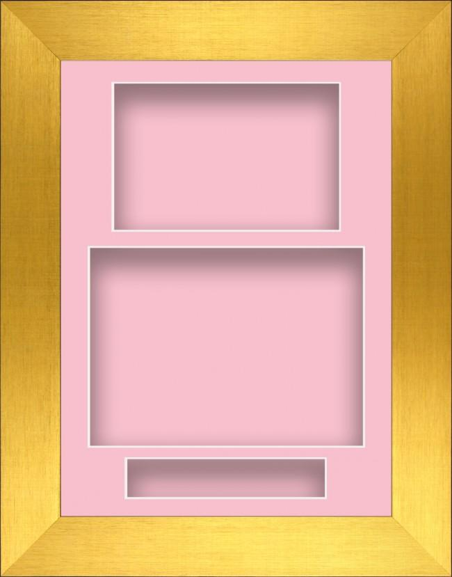 11.5x8.5 Gold Deep Box Display Frame Pink Portrait