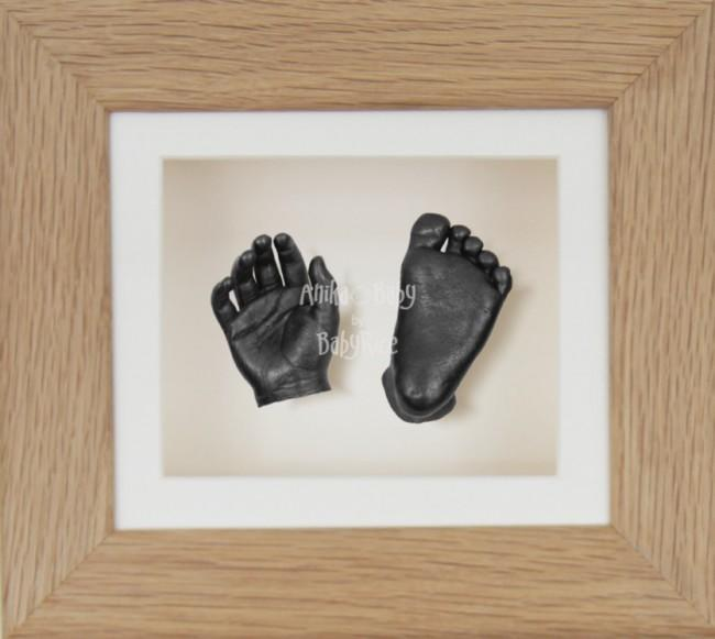 Baby Casting Kit Solid Oak Frame Cream Display Pewter paint