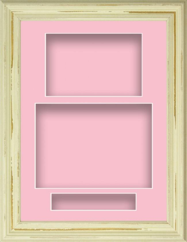 Shabby Chic Cream Deep Box Display Frame Pink Portrait