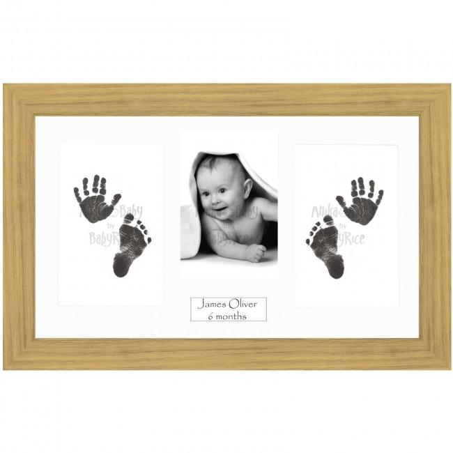 BabyRice Baby Hand & Footprints Kit, Inkless Prints, Oak effect Frame