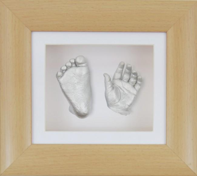 Baby Casting Kit Beech Effect Frame White Silver paint