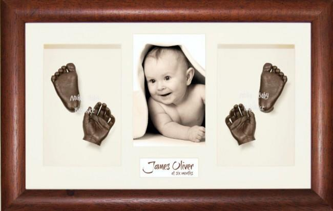 New Baby Baptism Gift, 3D Bronze Handprint Footprint Kit, Wood Frame
