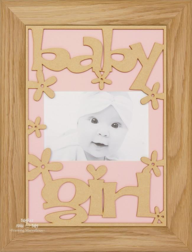 BabyRice New Baby Girl Gift Wooden Frame Solid Oak – Pink Mount