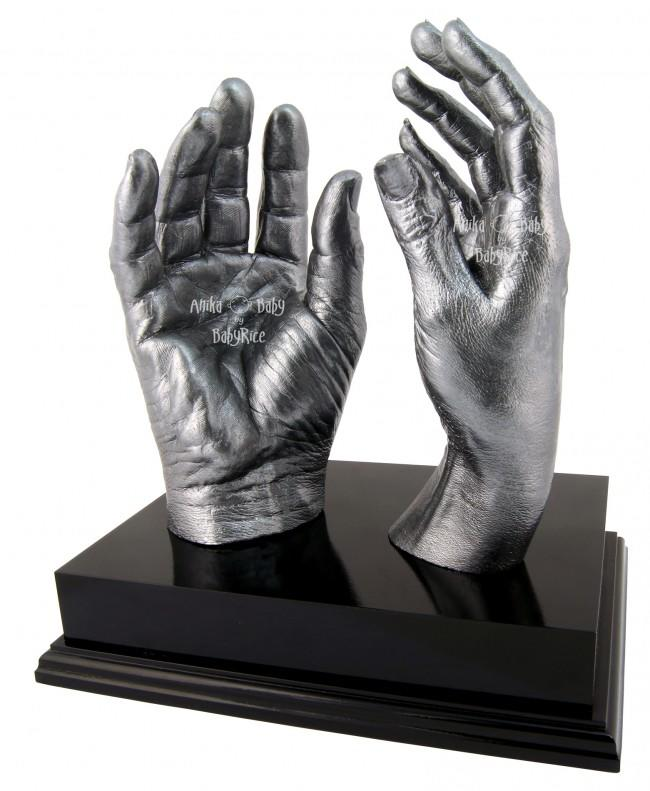 "Adult Hands Casting Kit with Black Display Plinth 8x6"" – Pewter"