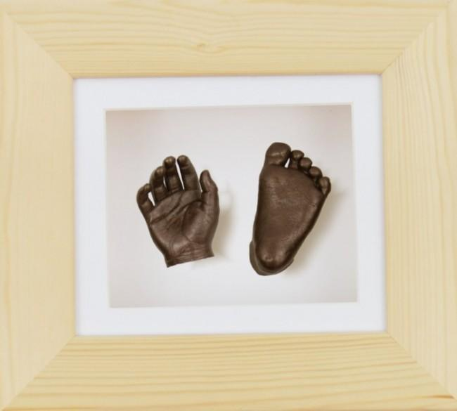 Baby Casting Kit Natural Wood Frame White Bronze painted casts
