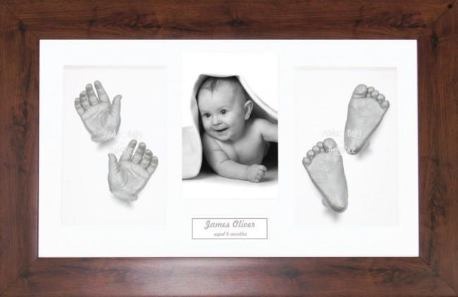 New Baby Casting Kit Gift, Mahogany effect frame, Silver Hand Foot