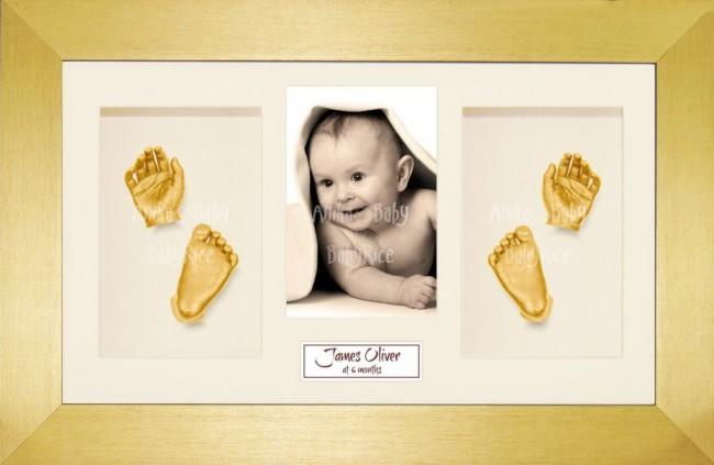Baby Casting Kit / Gold Frame / Cream Photo Display / Gold Paint