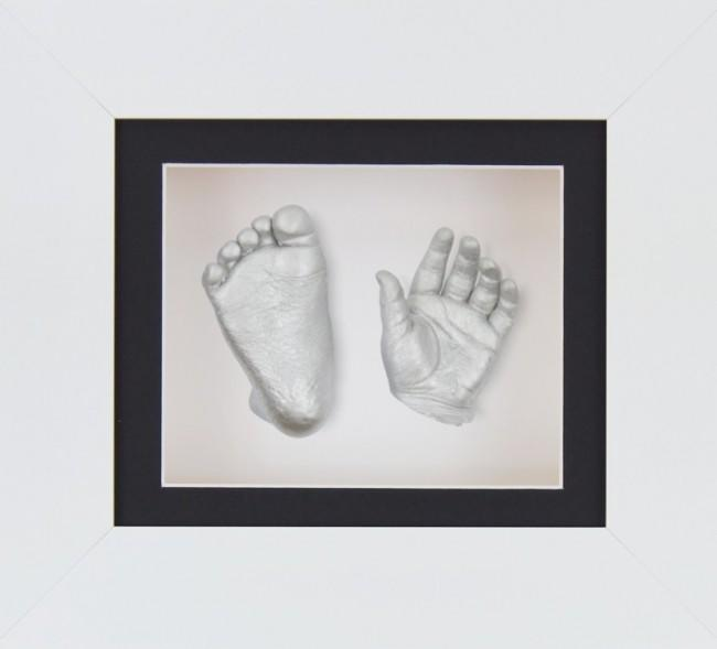 Baby Casting Kit White 6x5 Frame Silver Metallic Paint