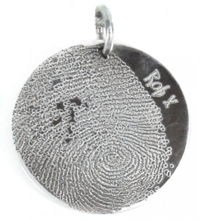 Fingerprint Jewellery Adult Child Prints on Silver Circle Pendant Oxi