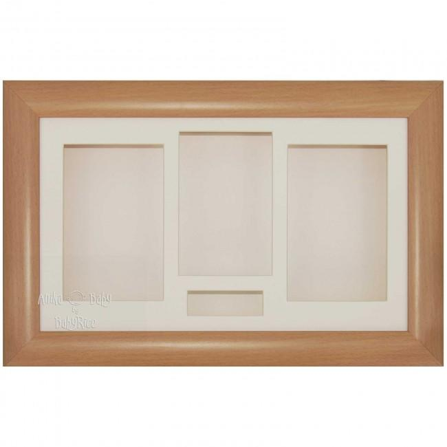 "15x9"" Beech Effect 3D Shadow Box Display Frame / Cream"