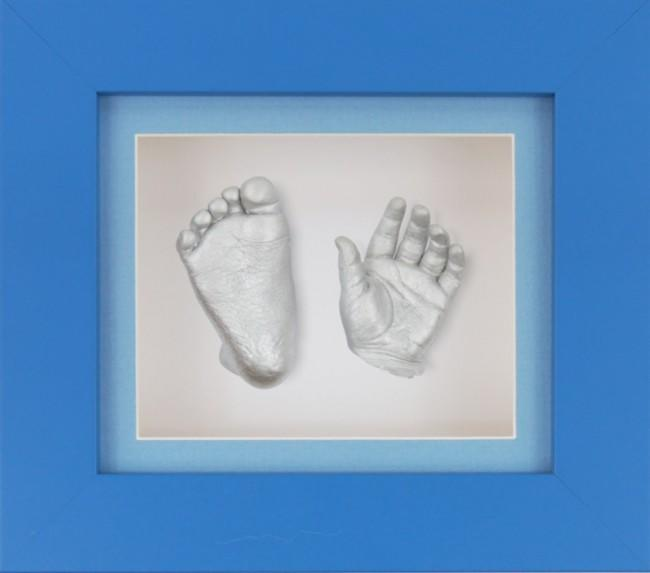 Baby Boy Gift 3D Casting Kit Blue Frame Blue White Silver Casts