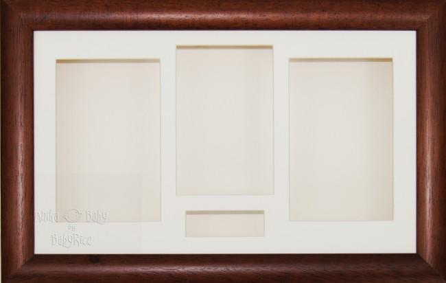 Large Dark Wood Wooden 3D Shadow Box Display Frame / Cream