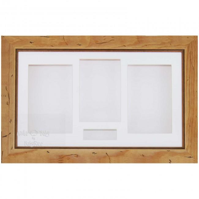 "15x9"" Rustic Pine Wood 3D Box Display Frame / White"