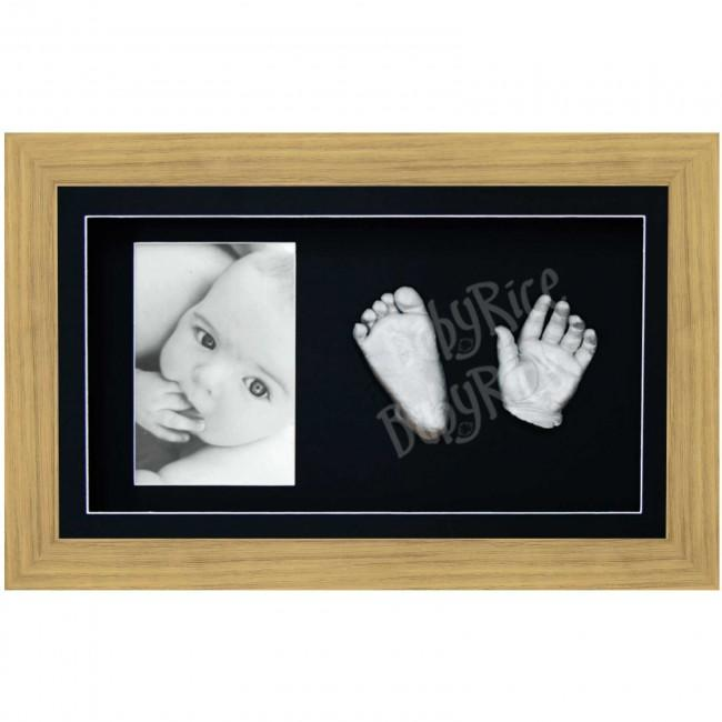 Silver 3D Baby Casting Kit, Large Oak Effect Frame, Black Display