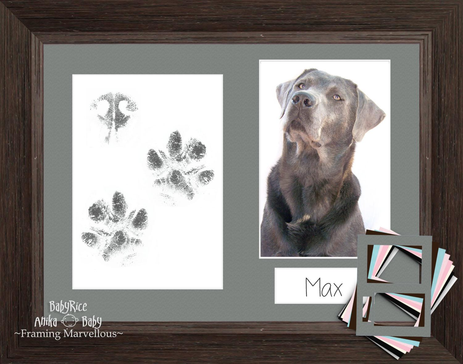 Pet Paw Print Kit with Dark Brown Wooden Frame