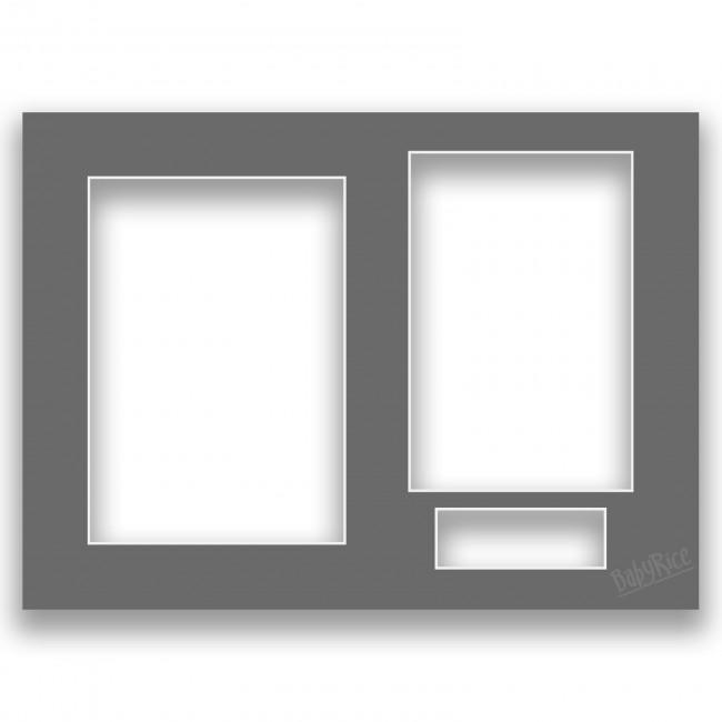 Three Aperture Picture Frame Mount & Backing Card 12x9 Inches - Slate Grey