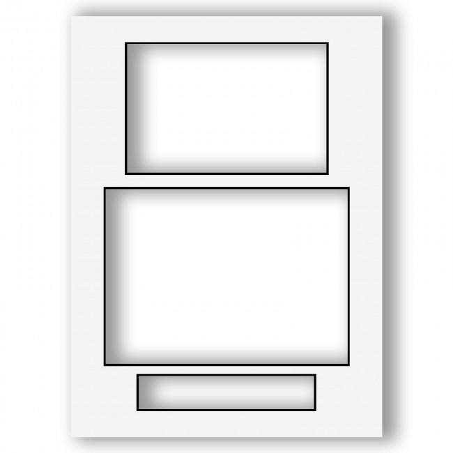 Three Aperture Picture Frame Mount 12x9 Inches (Portrait) - White (with Black Core)