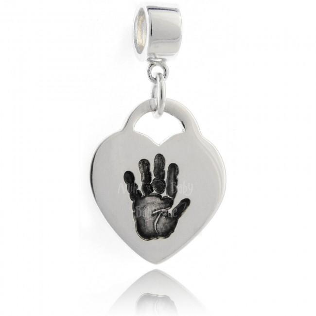 ilver Jewellery Personalised Handprint on Drop Heart Charm Bead