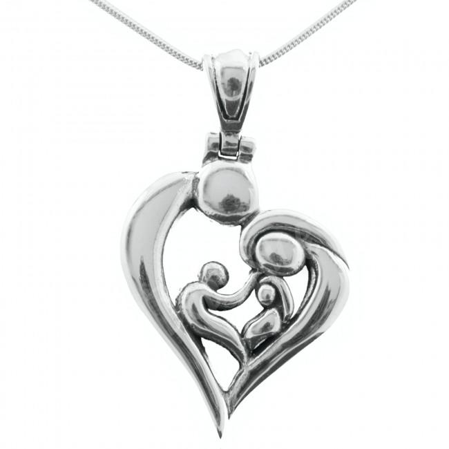 Sterling Silver Heart Family of 4 Pendant - Choose Chain