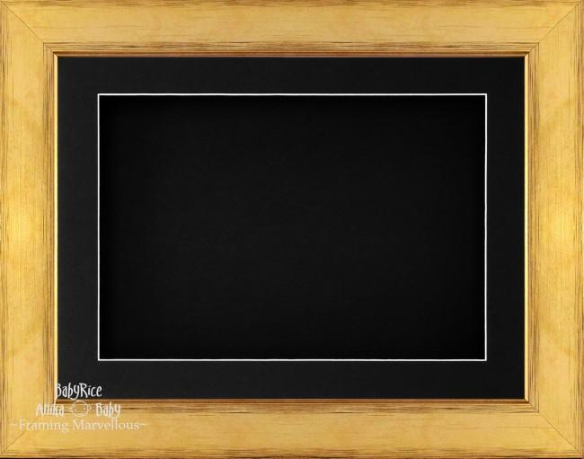 "11.5x8.5"" Gold 3D Deep Box Display Frame Black Mount"