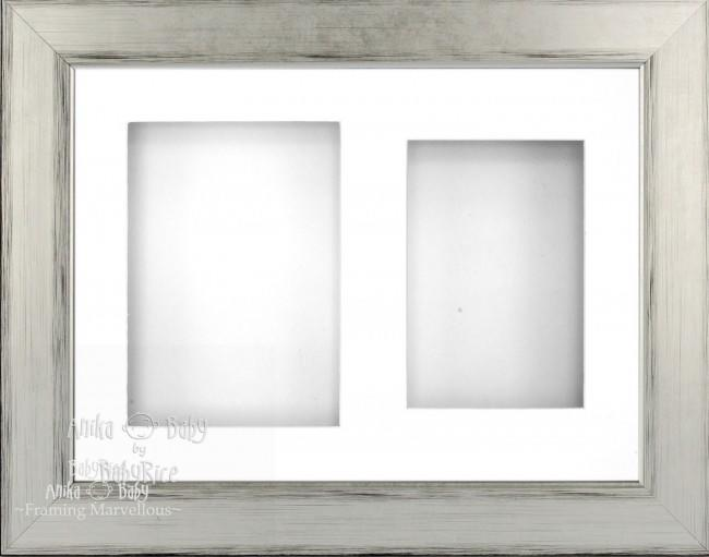"11.5x8.5"" Silver Black 3D Deep Box Frame White 2 Mount"