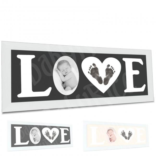 Baby Hand and Footprint Kit with Love Photo Picture Frame in Silver – Options, by BabyRice