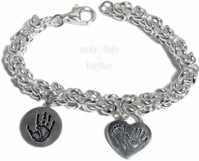 Sterling Silver Byzantine Bracelet Personalised Heart Circle Charms Handprint Footprint