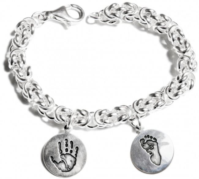 Sterling Silver Chunky Byzantine Bracelet with 2 Personalised Circle Charms
