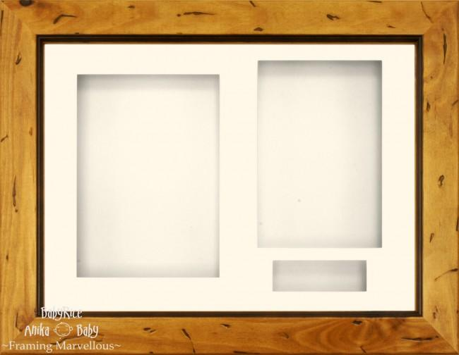 "11.5x8.5"" Rustic Pine Wood 3D Display Box Frame Cream"