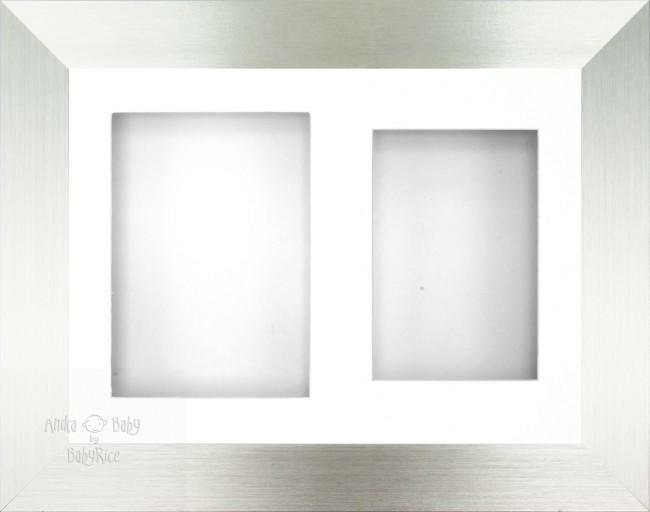 "11.5x8.5"" Silver 3D Box Frame White 2 mount"