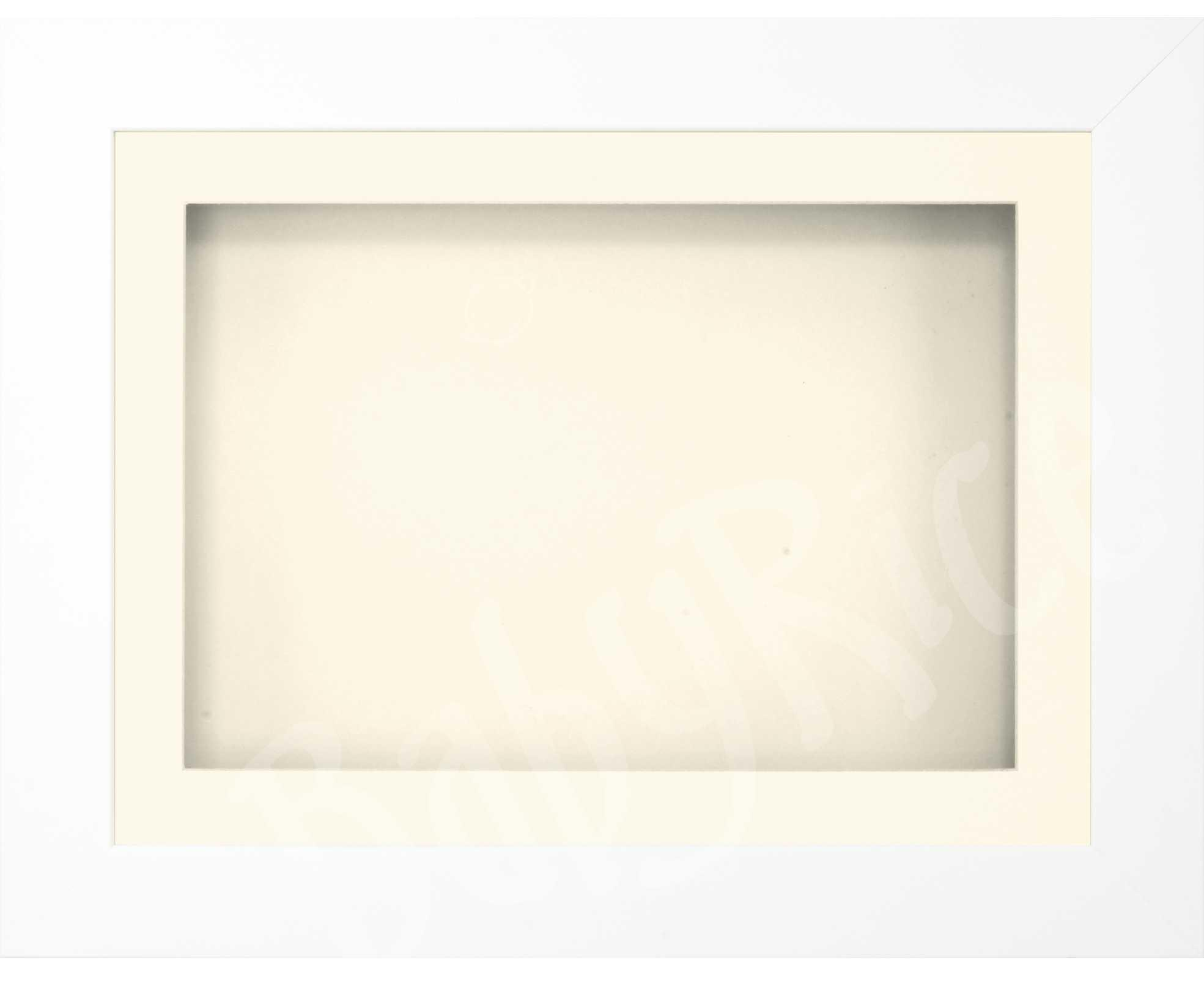 "11.5x8.5"" White 3D Display Frame 1 Hole Cream Mount Cream Back"