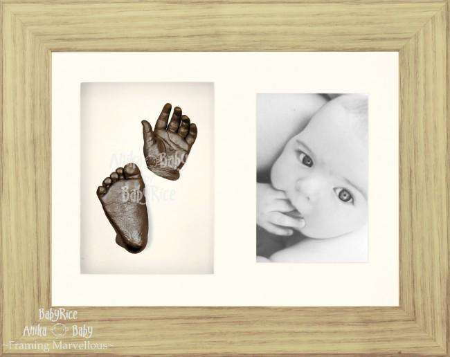 "Baby Casting Kit & 11.5x8.5"" Oak effect Frame / Bronze paint"