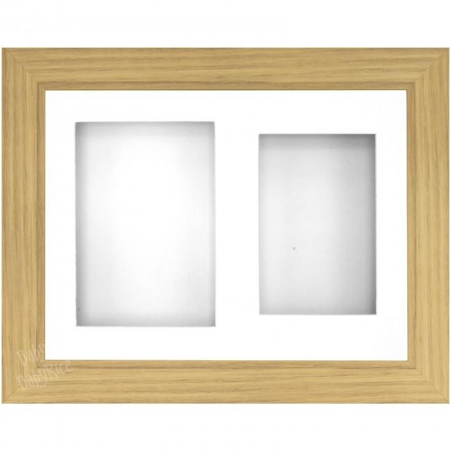 "9x12"" Oak Effect 3D Display Frame 2 Hole White Mount and Backing"