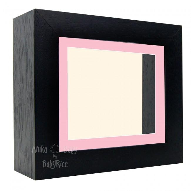 "Deluxe Black Deep Box Frame 6x5"" with Pink Mount and Cream Backing"