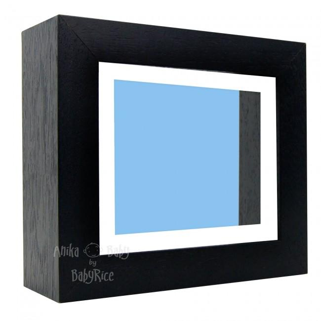 "Deluxe Black Deep Box Frame 6x5"" with White Mount and Blue Backing"