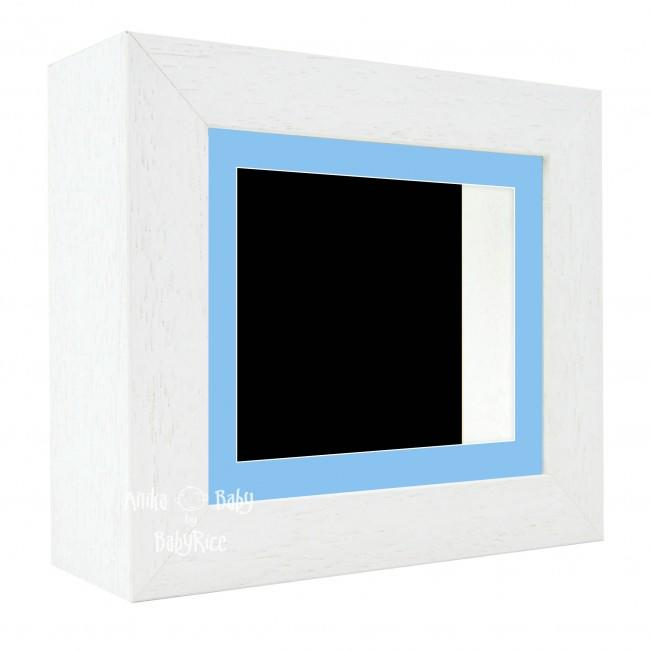 "Deluxe White Deep Box Frame 6x5"" with Blue Mount and Black Backing"